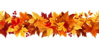 有五颜六色的秋叶的水平的无缝的诗歌选 也corel凹道例证向量 免版税库存图片