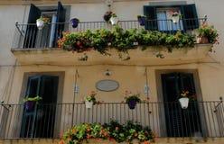 有五颜六色的罐的议院在卡尔塔吉龙在西西里岛(意大利) 库存图片