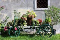有五颜六色的花的老木推车 库存图片