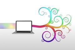 有五颜六色的螺旋设计的膝上型计算机 免版税库存图片