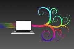有五颜六色的螺旋设计的膝上型计算机 图库摄影