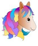 有五颜六色的鬃毛的逗人喜爱的动画片小马头 库存例证