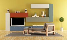 有五颜六色的组合壁橱的当代客厅 库存例证