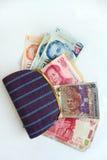 有亚洲国家货币的钱包 库存图片