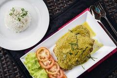 有亚洲绿色咖喱汁膳食的泰国鱼片 库存照片