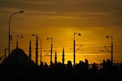 有些钓鱼者剪影和加拉塔桥梁的Suleymaniye清真寺 库存照片
