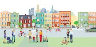 有交通的都市街道 免版税图库摄影