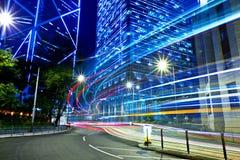 有交通足迹的香港市 免版税库存照片