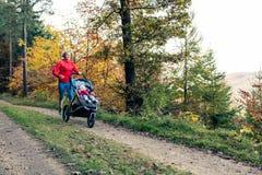 有享受母性的婴儿推车的连续母亲在秋天sunse 库存照片