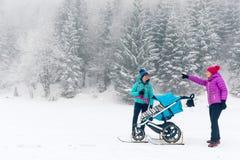 有享用有女性朋友或伙伴的,家庭时间的婴儿车的母亲冬天森林 远足或力量走的妇女与 库存图片