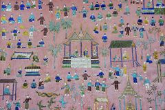 有亭子的美丽的马赛克的外墙Xieng皮带寺庙的在琅勃拉邦,老挝 免版税库存图片