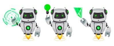 有人工智能的机器人,马胃蝇蛆,套三个姿势 在全息图的滑稽的卡通人物在绿色灯的点和展示 库存例证