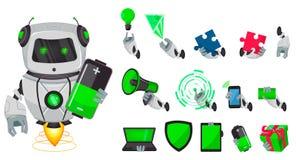 有人工智能的机器人,马胃蝇蛆 滑稽的卡通人物、盒身体局部和事 有人的特点的计算机控制学的有机体 皇族释放例证