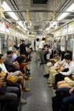 有人的地下地铁支架在东京日本 免版税库存照片