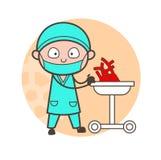 有人的心脏的动画片心脏科医师为审查传染媒介概念 库存例证