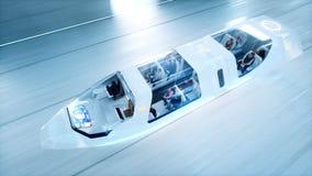 有人的未来派飞行公共汽车斋戒驾驶在科学幻想小说隧道, coridor 未来的概念 3d翻译 库存图片