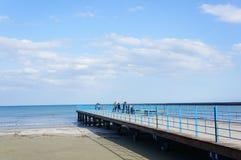 有人的海滩码头 免版税库存照片