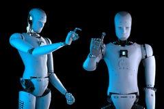 有人的特点机器人手指向 免版税库存图片