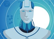 有人的特点的机器人具体化 库存例证