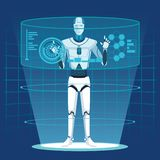 有人的特点的机器人具体化 皇族释放例证