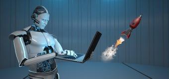 有人的特点的机器人笔记本火箭队 皇族释放例证