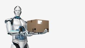 有人的特点的机器人运输纸盒 皇族释放例证