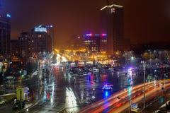 有人的胜利广场抗议在布加勒斯特,罗马尼亚 免版税图库摄影