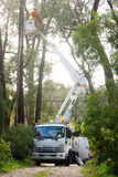有人的紧急情况服务车樱桃捡取器的 库存照片