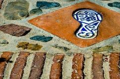有人脚的反射, a的元素的陶瓷砖 免版税库存图片