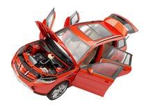 有从上面被观看的开门的Suv红色汽车 向量例证