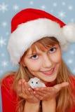 有仓鼠的圣诞节女孩 库存照片