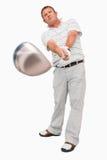 有他的俱乐部的高尔夫球运动员 免版税库存照片
