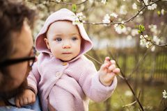 有他的小孩女儿的一个父亲外面春天自然的 免版税库存照片
