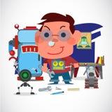 有他的机器人的男孩技工 机器人恋人概念 孩子` s梦想- 免版税库存图片