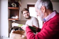 有他的资深父亲的行家儿子在厨房里 库存图片