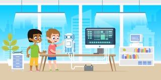 有他美国黑人的朋友编程的机器人的小男孩由计算机科技在现代教室办公室 库存图片