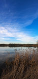 有令人敬畏的蓝天的平静的湖 免版税库存照片