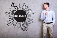 有企业剪影的年轻人 免版税库存图片