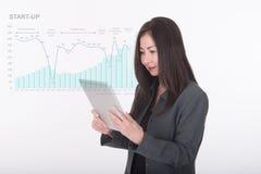 有企业图表的亚洲女商人用途计算机片剂 免版税库存图片