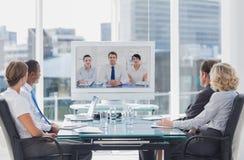 有企业的队电视电话会议 库存照片