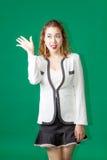 有企业穿戴行动的亚裔泰国夫人官员 免版税图库摄影