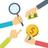 有企业项目的手对公司财务 向量例证