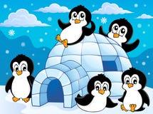 有企鹅题材的1园屋顶的小屋 库存图片
