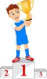 有优胜者杯子的愉快的足球冠军在指挥台 向量例证