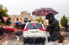 有伞横穿的妇女在雨风暴streen 免版税库存图片