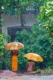 有伞的两名橙色修士在雨中 免版税库存照片