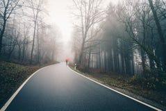 有伞的人在有薄雾的森林公路 免版税库存照片