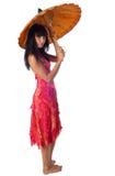 有伞的可爱的女孩 免版税库存照片