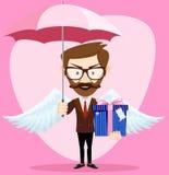 有伞的天使人飞过和礼物 免版税库存照片