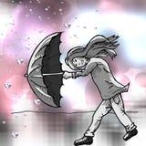 有伞的女孩在风暴 库存图片